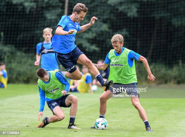 Sebastian Langkamp Julius Kade and Fabian Lustenberger during the second day of the training camp of Hertha BSC on July 9 2017 in Bad Saarow Germany