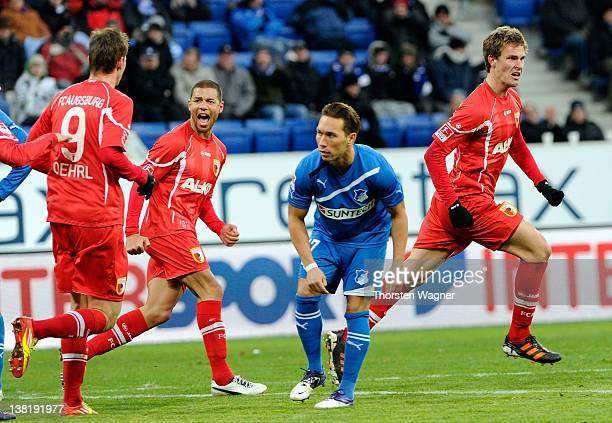 Sebastian Langkamp of Augsburg celebrates after scoring his teams second goal during the Bundesliga match between TSG 1899 Hoffenheim and FC Augsburg...