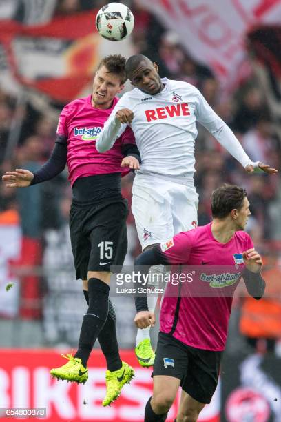 Sebastian Langkamp of Berlin and Anthony Modeste of Koeln in action during the Bundesliga match between 1 FC Koeln and Hertha BSC at...