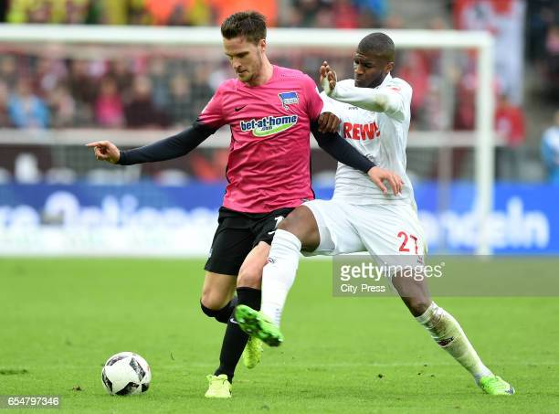 Sebastian Langkamp of Hertha BSC and Anthony Modeste of 1 FC Koeln during the game between dem 1 FC Koeln and Hertha BSC on march 18 2017 in Koeln...