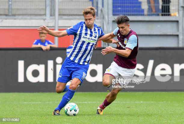 Sebastian Langkamp of Hertha BSC and Jack Grealish of Aston Villa during the game between Aston Villa and Hertha BSC on july 23 2017 in Duisburg...