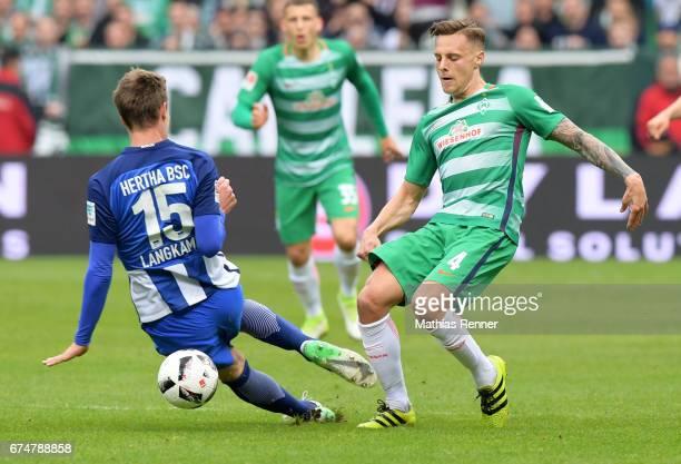 Sebastian Langkamp of Hertha BSC and Robert Bauer of Werder Bremen during the Bundesliga match between Werder Bremen and Hertha BSC on April 29 2017...
