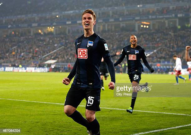 Sebastian Langkamp of Hertha BSC celebrates after scoring the 01 during the match between Hamburger SV and Hertha BSC on March 20 2015 in Hamburg...