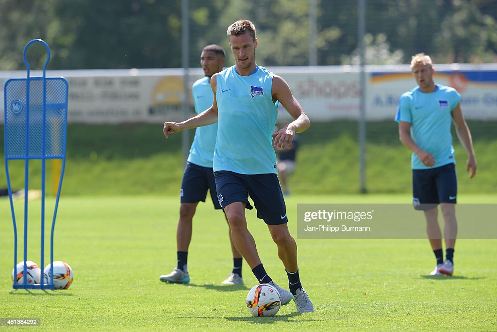 <a gi-track='captionPersonalityLinkClicked' href=/galleries/search?phrase=Sebastian+Langkamp&family=editorial&specificpeople=808587 ng-click='$event.stopPropagation()'>Sebastian Langkamp</a> of Hertha BSC during the training camp in Schladming on July 20, 2015 in Schladming, Austria.