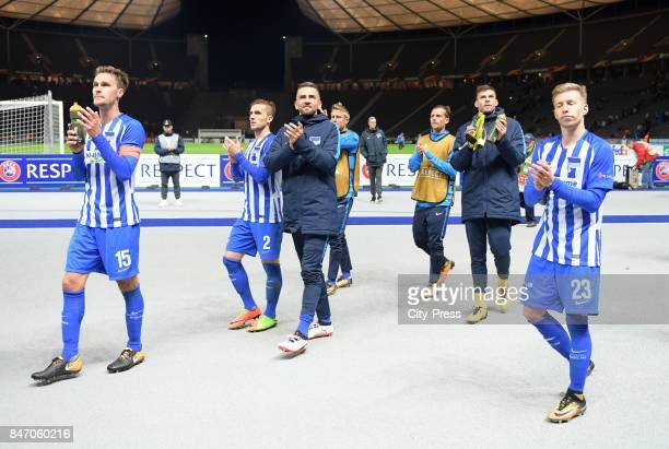 Sebastian Langkamp Peter Pekarik Vedad Ibisevic Per Skjelbred Valentin Stocker Rune Almenning Jarstein and Mitchell Weiser of Hertha BSC after the...