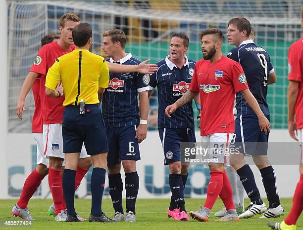 Sebastian Langkamp Tom Schuetz and Christian Mueller Marvin Plattenhardt of Hertha BSC and Fabian Klos of Arminia Bielefeld during the match between...