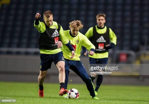 Sebastian Larsson and Emil Forsberg of Sweden during Sweden National Team training session at Friends arena on March 21 2017 in Solna Sweden