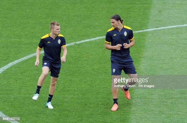 Sebastian Larsson and Zlatan Ibrahimovic during the training session at the Olympic Stadium in Kiev Ukraine