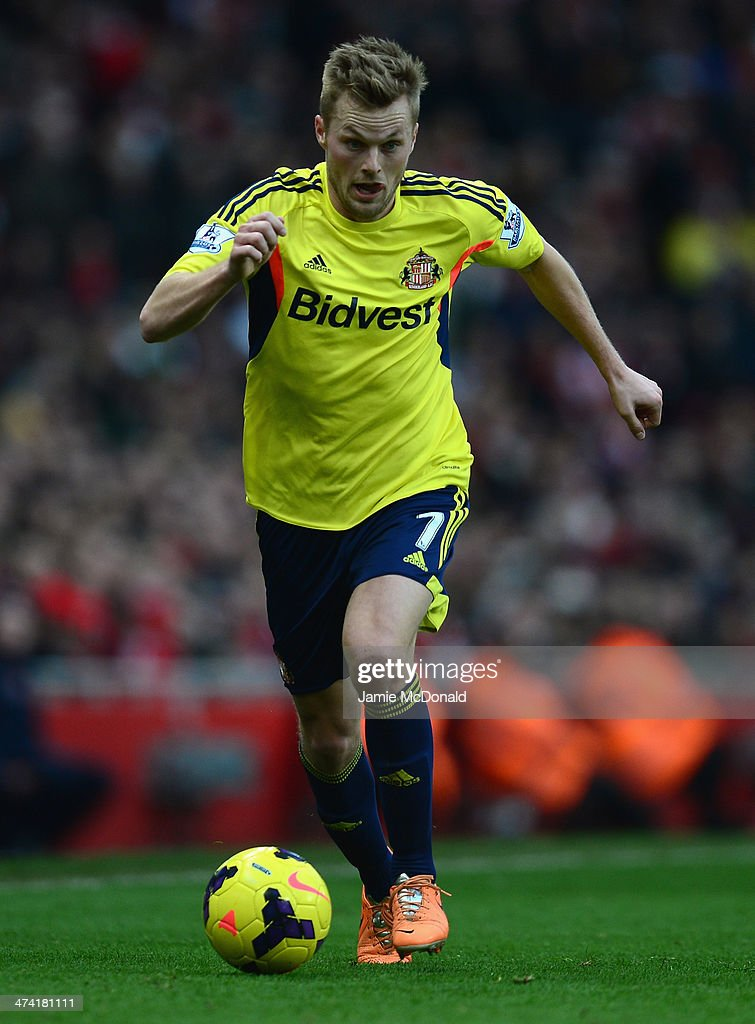 Sebastian Larsson of Sunderland in action during the Barclays Premier League match between Arsenal and Sunderland at Emirates Stadium on February 22, 2014 in London, England.
