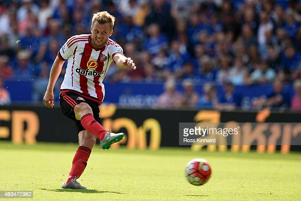 Sebastian Larsson of Sunderland in action during the Barclays Premier League match between Leicester City and Sunderland at the King Power Stadium on...