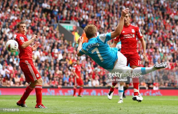 Sebastian Larsson of Sunderland scores the equalising goal during the Barclays Premier League match between Liverpool and Sunderland at Anfield on...
