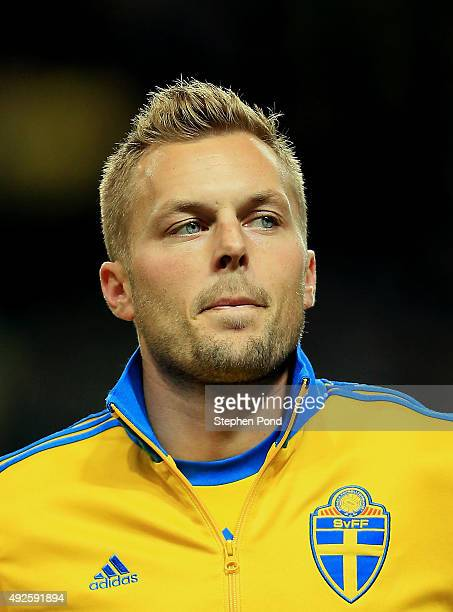 Sebastian Larsson of Sweden during the UEFA EURO 2016 Qualifying match between Sweden and Moldova at the National Stadium Friends Arena on October 12...