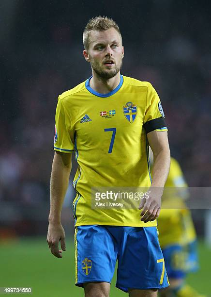 Sebastian Larsson of Sweden looks on during the UEFA EURO 2016 Qualifier PlayOff Second Leg match between Denmark and Sweden at Parken Stadium on...