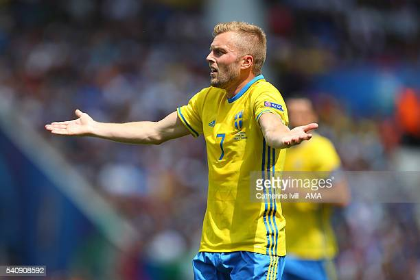 Sebastian Larsson of Sweden shrugs his shoulders during the UEFA EURO 2016 Group E match between Italy and Sweden at Stadium Municipal on June 17...
