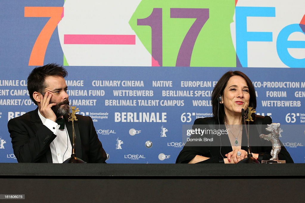Sebastian Lelio and Paulina Garcia seen on stage with the award for best actress at the Award Winners Press Conference during the 63rd Berlinale International Film Festival at Grand Hyatt Hotel on February 14, 2013 in Berlin, Germany.