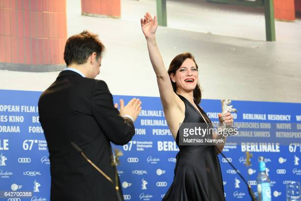 Sebastian Lelio winner of the Silver Bear for Best Screenplay and actress Daniela Vega attend the award winners press conference during the 67th...