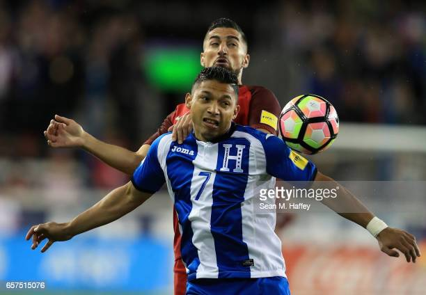 Sebastian LLetget of the United States battles Emilio Izaguirre of Honduras for a loose ball during their FIFA 2018 World Cup Qualifier at Avaya...