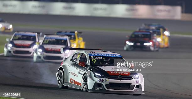 Sebastian Loeb of France drives in the first night race during the 2015 FIA World Touring Car Championship at the Losail international circuit in...