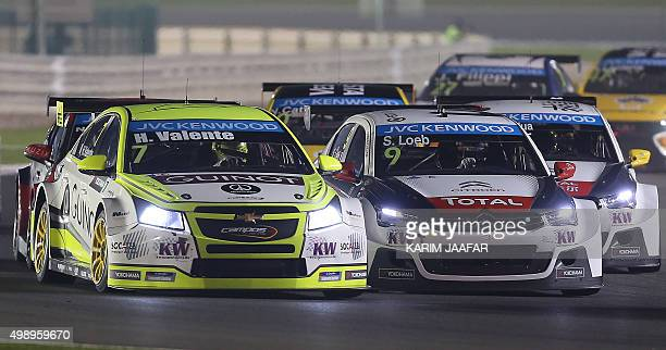 Sebastian Loeb of France drives in the night race during the 2015 FIA World Touring Car Championship at the Losail international circuit in Doha on...