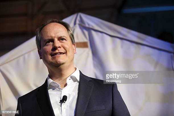 Sebastian Mackensen senior vice president of the MINI brand at Bayerische Motoren Werke AG reacts after the unveiling of the company's MINI...