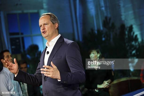 Sebastian Mackensen senior vice president of the MINI brand at Bayerische Motoren Werke AG speaks at the unveiling of the company's MINI Countryman...