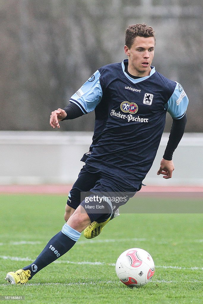 Sebastian Maier of Muenchen in action during the Regionalliga Bayern match between FV Illertissen and 1860 Muenchen II at Voehlinstadion on April 20, 2013 in Illertissen, Germany.