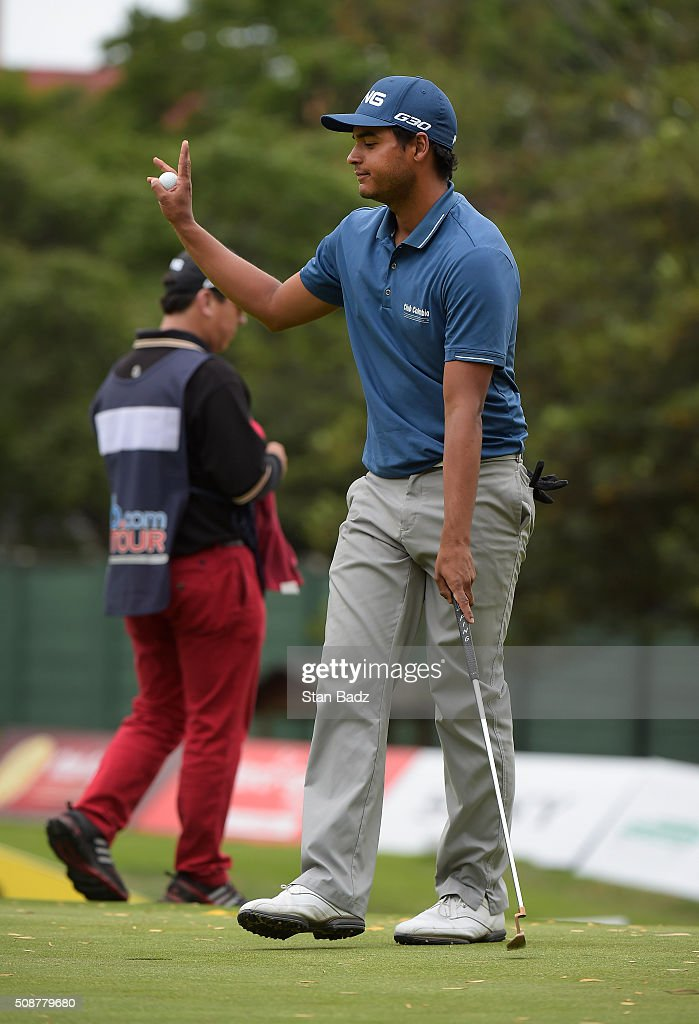 Sebastian Munoz of Colombia birdies the fourth hole during the third round of the Web.com Tour Club Colombia Championship Presented by Claro at Bogotá Country Club on February 6, 2016 in Bogotá, Colombia.