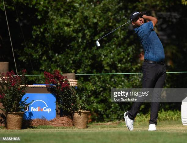 Sebastian Munoz tees off on the 6th hole during the first round of the Wyndham Championship on August 18 2017 at Sedgefield Country Club in...