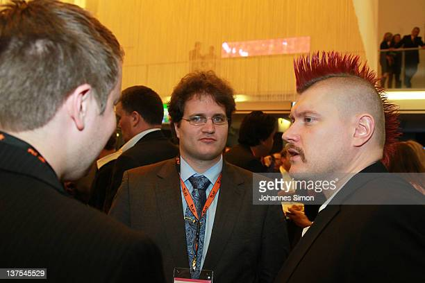 Sebastian Nerz of German Piraty Party and German blogger Sascha Lobo during the Digital Life Design conference at HVB Forum on January 22 2012 in...