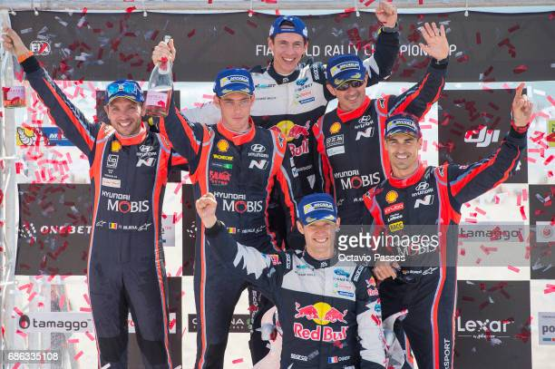 Sebastian Ogier Thierry Neuville Nicolas Gilsoul Dani Sordo Julien Ingrassia and Marc Marti at the award ceremony awards for the WRC Portugal on May...