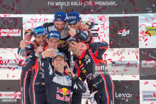 Sebastian Ogier Thierry Neuville Nicolas Gilsoul Dani Sordo Julien Ingrassia and Marc Marti take a selfie at the award ceremony awards for the WRC...