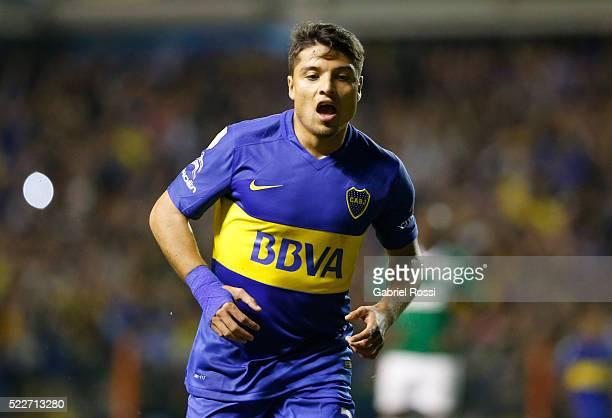 Sebastian Palacios of Boca Juniors celebrates after scoring the sixth goal of his team during a match between Boca Juniors and Deportivo Cali as part...