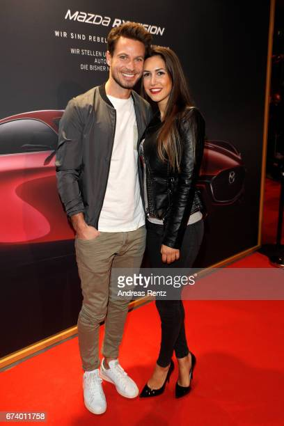 Sebastian Pannek and CleaLacy Juhn attend the spring cocktail hosted by Mazda and InTouch magazine at Mazda Pop UpStore on April 27 2017 in...