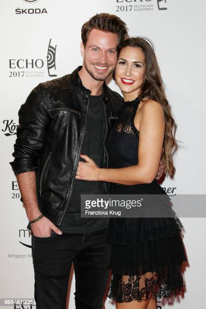 Sebastian Pannek and his girlfriend CleaLacy Juhn attend the Echo award red carpet on April 6 2017 in Berlin Germany