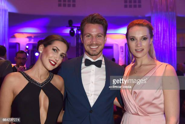 Sebastian Pannek with his girlfriend CleaLacy Juhn and Anna Hofbauer during the LEA PRG Live Entertainment Award 2017 After Show Party at Festhalle...