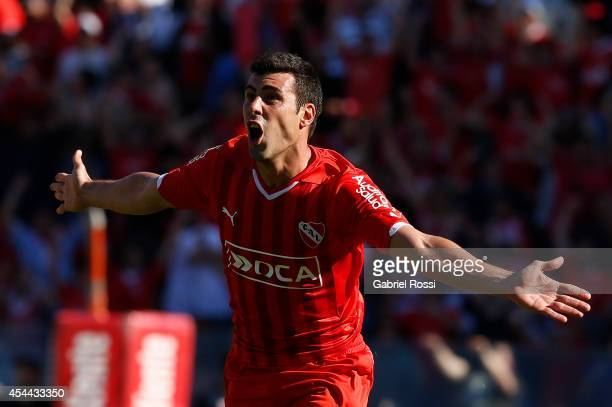 Sebastian Penco of Independiente celebrates after scoring the opening goal against Racing during a match between Independiente and Racing as part of...