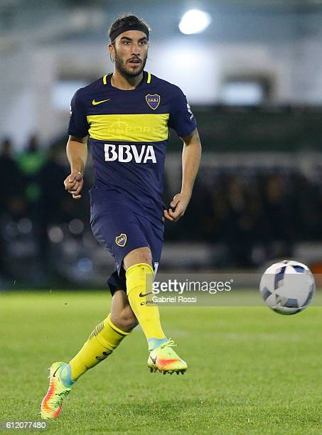 Sebastian Perez Cardona of Boca Juniors kicks the ball during a match between Tigre and Boca Juniors as part of fifth round of Campeonato de Primera...