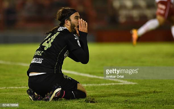 Sebastian Perez of Atletico Nacional reacts during a first leg match between Huracan and Atletico Nacional as part of round of sixteen of Copa...