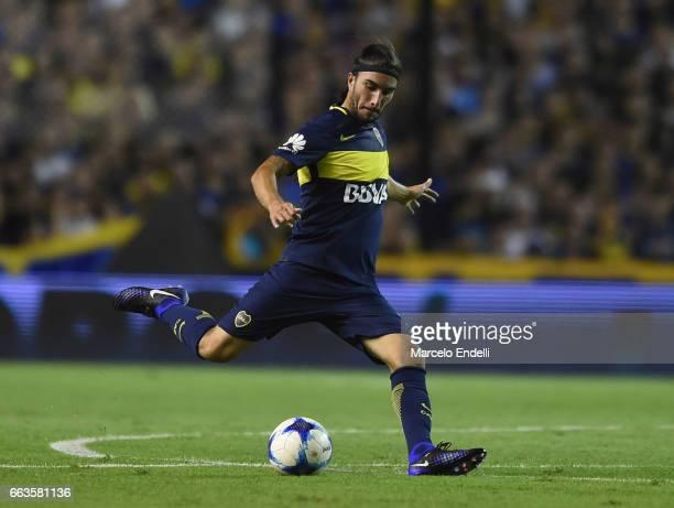 Sebastian Perez of Boca Juniors kicks the ball during a match between Boca Juniors and Defensa y Justicia as part of Torneo Primera Division 2016/17...