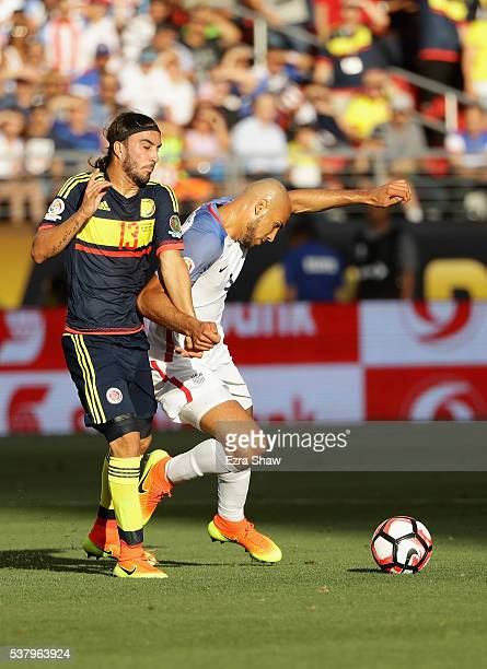 Sebastian Perez of Colombia and John Brooks of United States go for the ball during the 2016 Copa America Centenario Group match between the United...