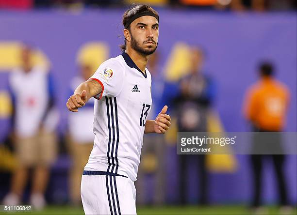 Sebastian Perez of Colombia reacts after scoring a penalty shot against Peru in a shootout during a Quarterfinal match at MetLife Stadium as part of...