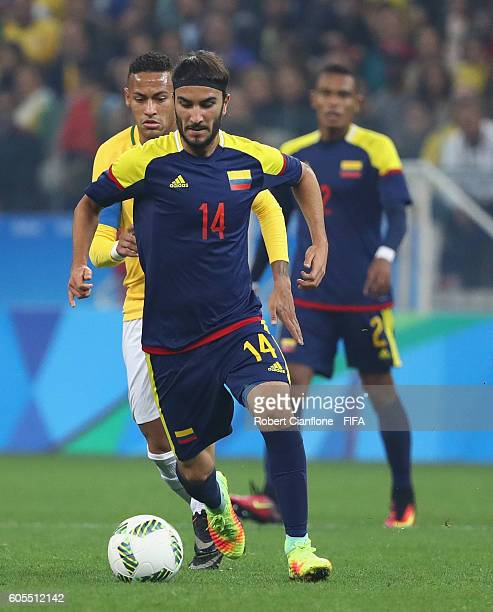 Sebastian Perez of Colombia runs with the ball during the Men's Football Quarter Final match between Brazil and Colombia on Day 8 of the Rio 2016...