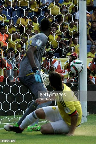 Sebastian Perez of Colombia shoots to score the second goal of his team during a match between Colombia and Ecuador as part of FIFA 2018 World Cup...