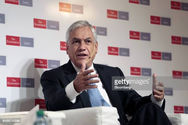 Sebastian Pinera former president of Chile speaks during The Economist's Argentina Summit in Buenos Aires Argentina on Wednesday March 8 2017 The...