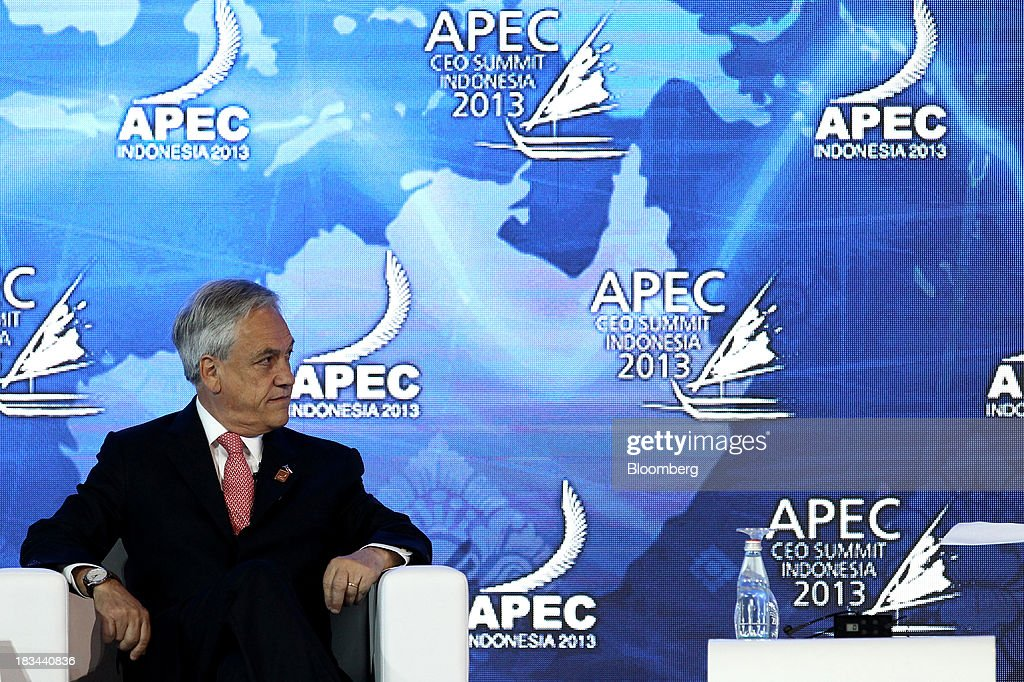 Sebastian Pinera, president of Chile, attends a panel discussion at the Asia-Pacific Economic Cooperation (APEC) CEO Summit in Nusa Dua, Bali, Indonesia, on Sunday, Oct. 6, 2013. Global growth will probably be slower and less balanced than desired, ministers from the APEC member economies said as they agreed to refrain from raising new barriers to trade and investment. Photographer: SeongJoon Cho/Bloomberg via Getty Images