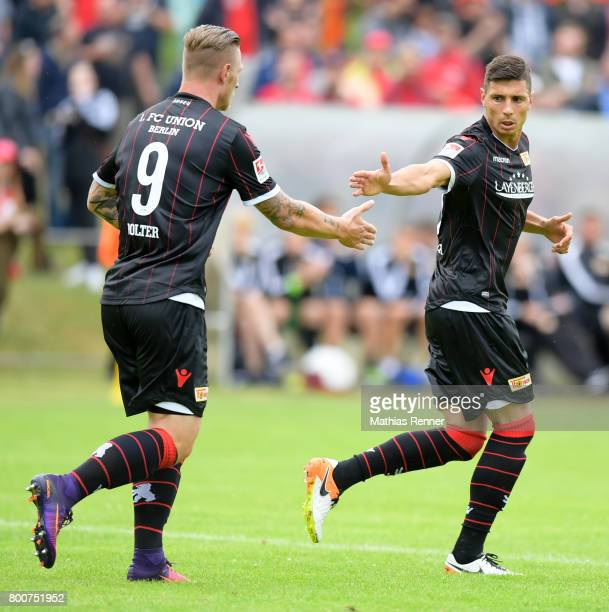Sebastian Polter and Damir Kreilach of 1 FC Union Berlin during the game between Friedrichshagener SV and Union Berlin on june 25 2017 in Berlin...