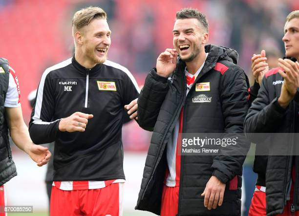 Sebastian Polter and Dennis Daube of 1FC Union Berlin after the game between Union Berlin and dem FC St Pauli on November 4 2017 in Berlin Germany