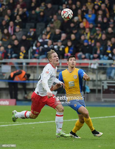 Sebastian Polter of 1 FC Union Berlin and Marcel Correia of Eintracht Braunschweig during the game between Eintracht Braunschweig and Union Berlin on...