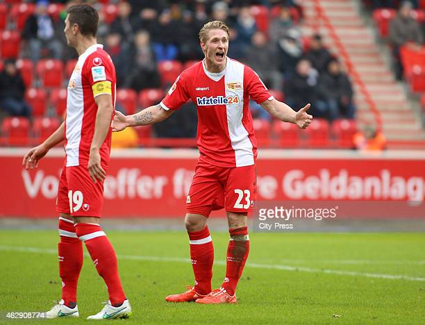 Sebastian Polter of 1 FC Union Berlin gestures during the game between Union Berlin and VfL Bochum on january 7 2015 in Berlin Germany