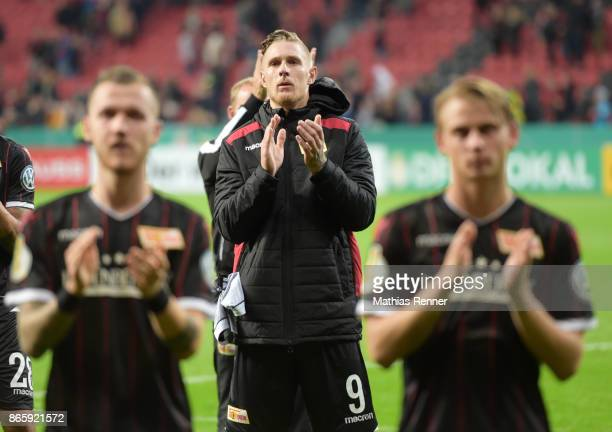 Sebastian Polter of 1FC Union Berlin after the game between Bayer 04 Leverkusen and Union Berlin on october 24 2017 in Leverkusen Germany